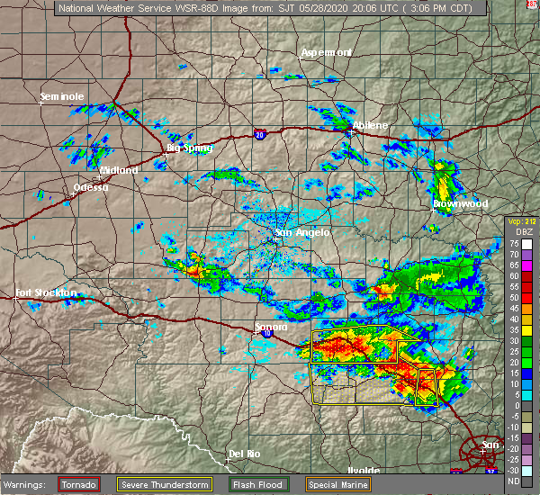 Radar Image for Severe Thunderstorms near Junction, TX at 5/28/2020 3:11 PM CDT