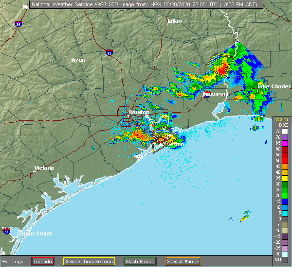Radar Image for Severe Thunderstorms near Bolivar Peninsula, TX at 5/28/2020 3:14 PM CDT