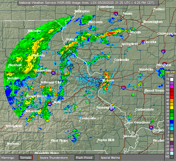 Radar Image for Severe Thunderstorms near East Alton, IL at 5/28/2020 4:32 PM CDT