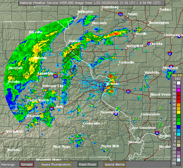 Radar Image for Severe Thunderstorms near East Alton, IL at 5/28/2020 4:38 PM CDT