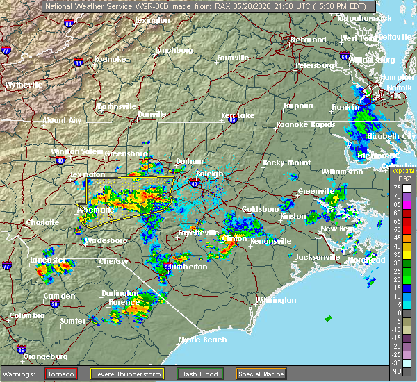 Radar Image for Severe Thunderstorms near Clinton, NC at 5/28/2020 5:44 PM EDT