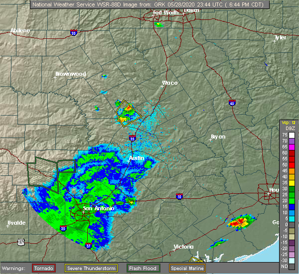 Radar Image for Severe Thunderstorms near Copperas Cove, TX at 5/28/2020 6:48 PM CDT
