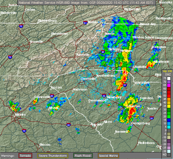 Radar Image for Severe Thunderstorms near Charlotte, NC at 5/29/2020 11:51 AM EDT