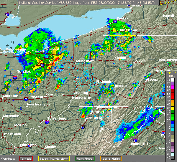Radar Image for Severe Thunderstorms near Deersville, OH at 5/29/2020 1:53 PM EDT