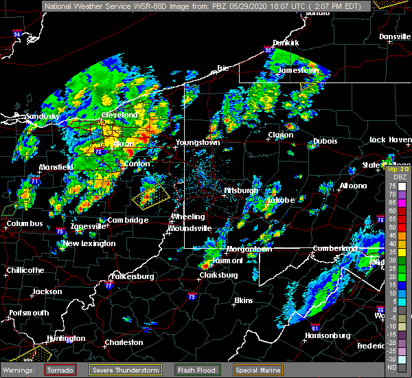 Radar Image for Severe Thunderstorms near Richmond, OH at 5/29/2020 2:10 PM EDT
