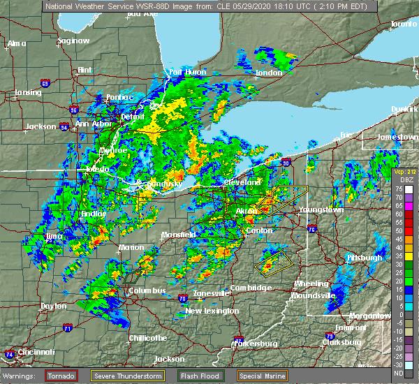 Radar Image for Severe Thunderstorms near South Canal, OH at 5/29/2020 2:11 PM EDT