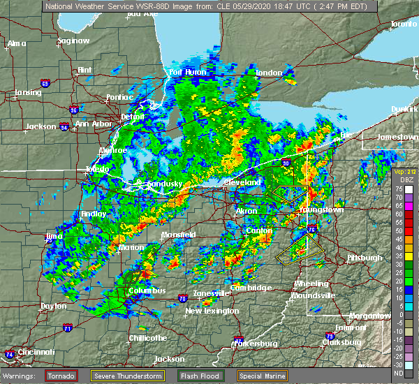 Radar Image for Severe Thunderstorms near Cortland, OH at 5/29/2020 2:54 PM EDT