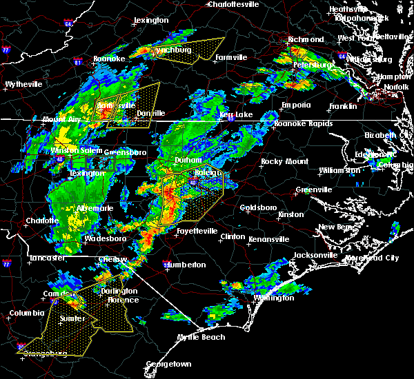 Radar Image for Severe Thunderstorms near Smithfield, NC at 6/27/2015 7:36 PM EDT