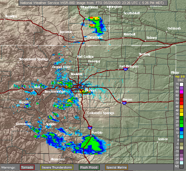 Radar Image for Severe Thunderstorms near Aurora, CO at 5/29/2020 5:30 PM MDT