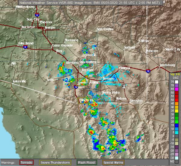 Radar Image for Severe Thunderstorms near Beyerville, AZ at 5/31/2020 3:02 PM MST