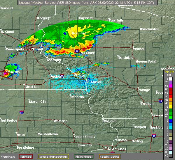 Radar Image for Severe Thunderstorms near Dakota, MN at 6/2/2020 5:29 PM CDT