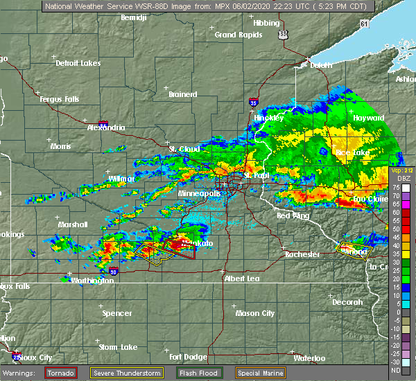 Radar Image for Severe Thunderstorms near Mapleton, MN at 6/2/2020 5:33 PM CDT
