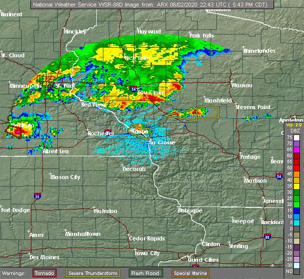 Radar Image for Severe Thunderstorms near Dakota, MN at 6/2/2020 5:45 PM CDT