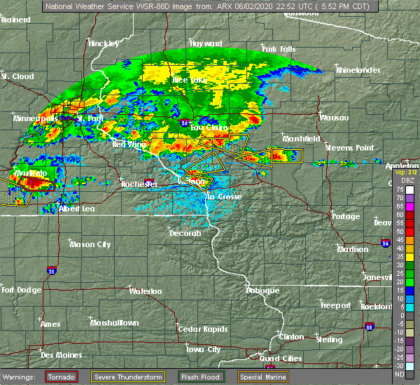 Radar Image for Severe Thunderstorms near Blair, WI at 6/2/2020 5:55 PM CDT