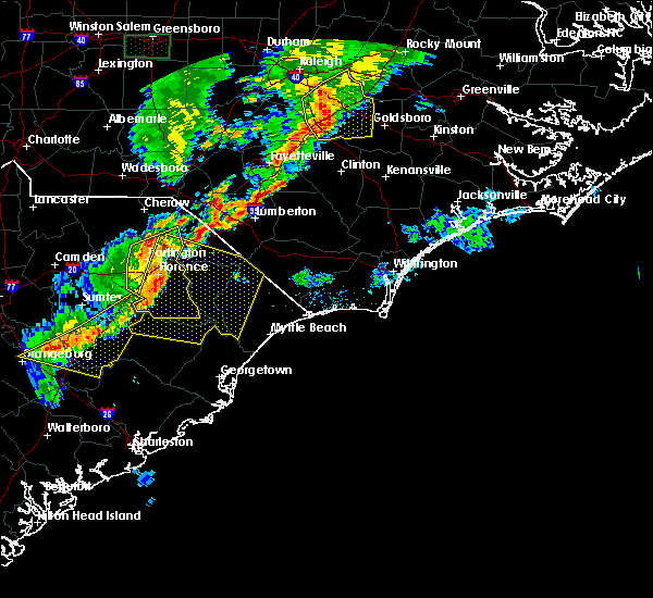 Radar Image for Severe Thunderstorms near Mullins, SC at 6/27/2015 8:15 PM EDT
