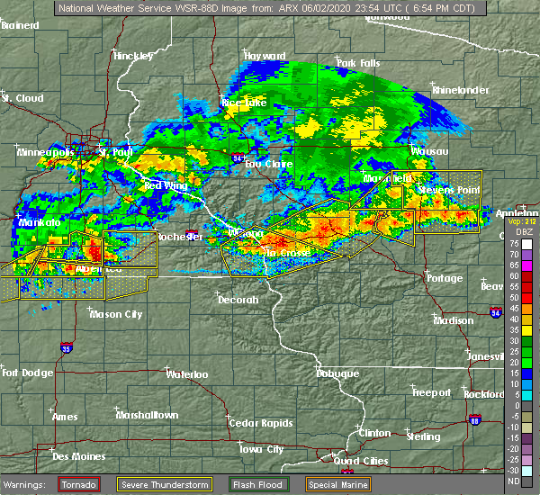 Radar Image for Severe Thunderstorms near Richland Center, WI at 6/2/2020 7:02 PM CDT