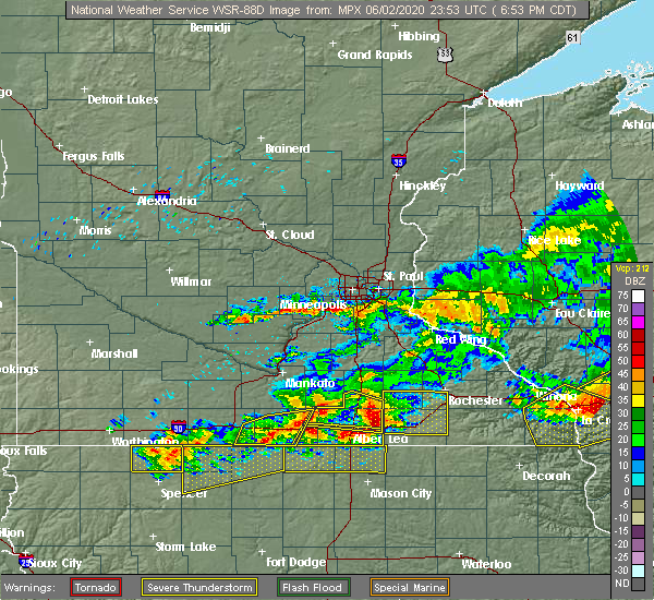 Radar Image for Severe Thunderstorms near Lake Mills, IA at 6/2/2020 7:02 PM CDT