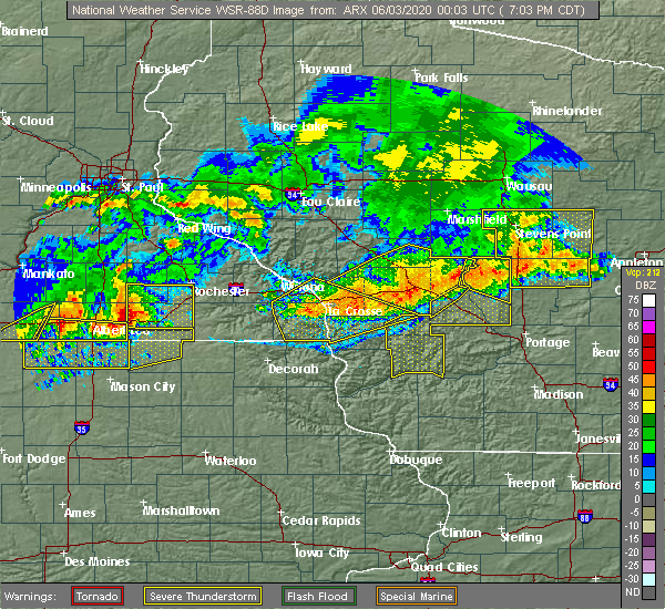 Radar Image for Severe Thunderstorms near Portage, WI at 6/2/2020 7:09 PM CDT