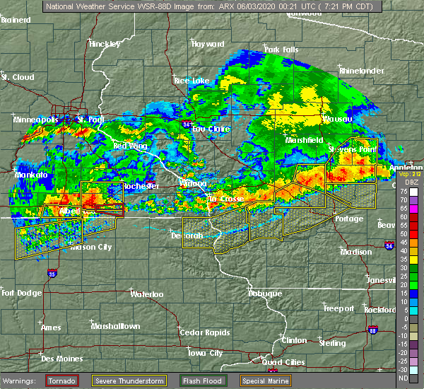 Radar Image for Severe Thunderstorms near Eastman, WI at 6/2/2020 7:26 PM CDT