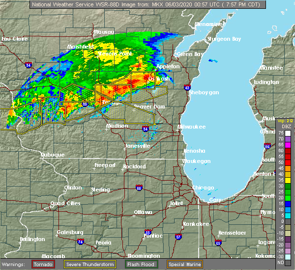Radar Image for Severe Thunderstorms near Portage, WI at 6/2/2020 8:00 PM CDT