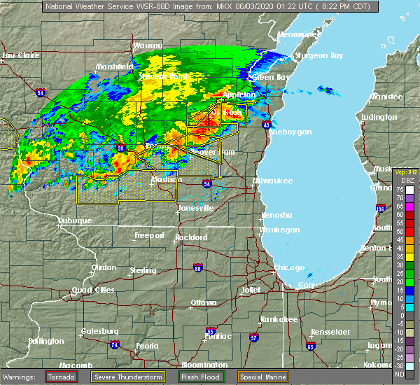 Radar Image for Severe Thunderstorms near Madison, WI at 6/2/2020 8:26 PM CDT