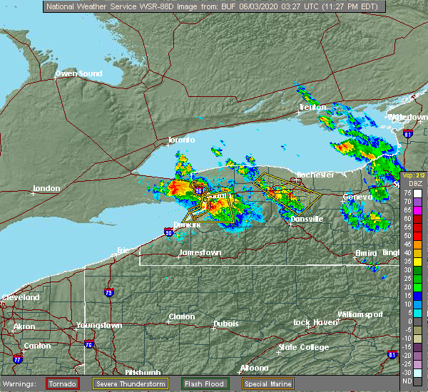 Radar Image for Severe Thunderstorms near Le Roy, NY at 6/2/2020 11:34 PM EDT