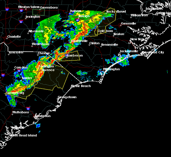 Radar Image for Severe Thunderstorms near Mullins, SC at 6/27/2015 8:30 PM EDT
