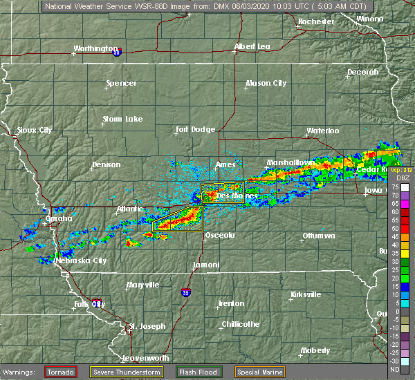 Radar Image for Severe Thunderstorms near Grimes, IA at 6/3/2020 5:08 AM CDT