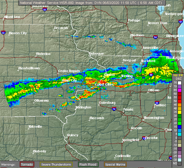 Radar Image for Severe Thunderstorms near Rapids City, IL at 6/3/2020 7:04 AM CDT