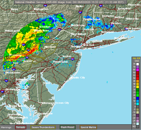 Radar Image for Severe Thunderstorms near Bechtelsville, PA at 6/3/2020 11:43 AM EDT