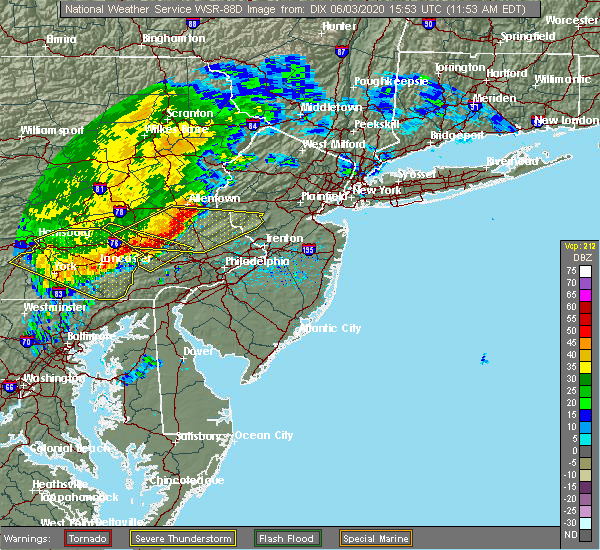 Radar Image for Severe Thunderstorms near Halfway House, PA at 6/3/2020 11:57 AM EDT