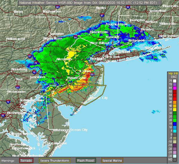 Radar Image for Severe Thunderstorms near Turnersville, NJ at 6/3/2020 1:01 PM EDT