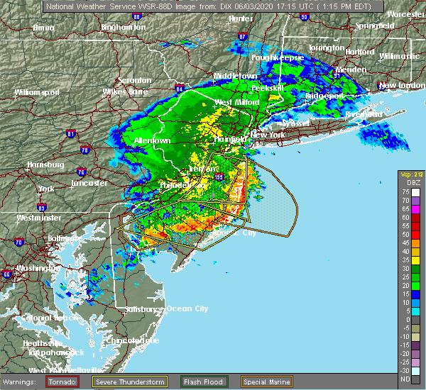 Radar Image for Severe Thunderstorms near Hightstown, NJ at 6/3/2020 1:24 PM EDT