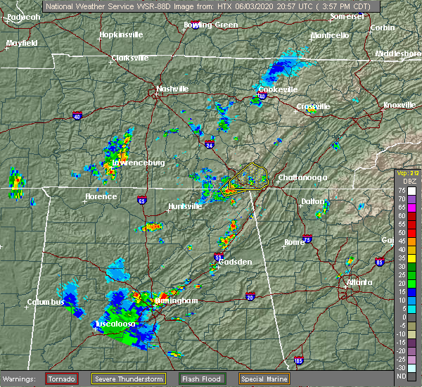 Radar Image for Severe Thunderstorms near Chattanooga, TN at 6/3/2020 4:00 PM CDT