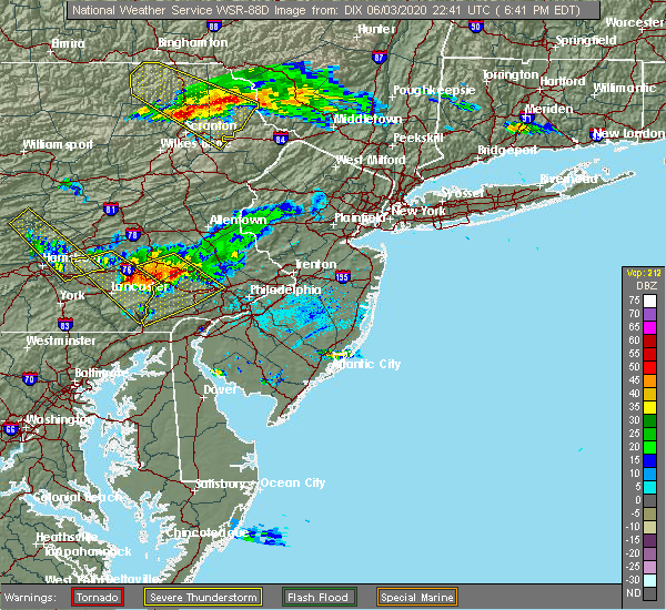 Radar Image for Severe Thunderstorms near Fivepointville, PA at 6/3/2020 6:44 PM EDT