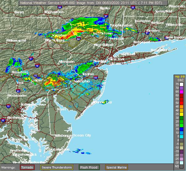 Radar Image for Severe Thunderstorms near Turnersville, NJ at 6/3/2020 7:24 PM EDT