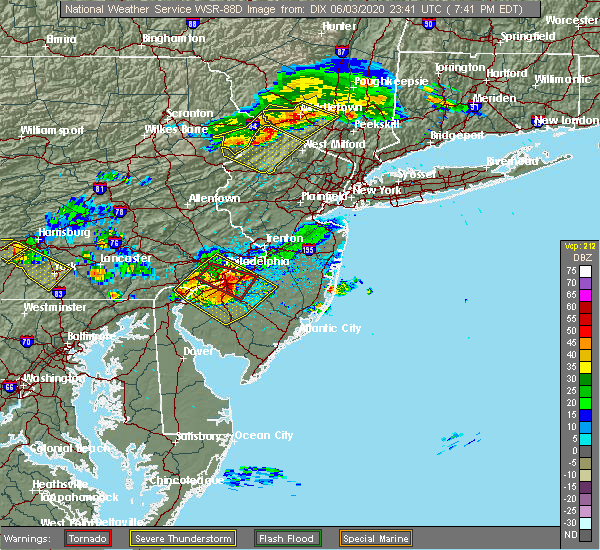 Radar Image for Severe Thunderstorms near Clayton, NJ at 6/3/2020 7:50 PM EDT
