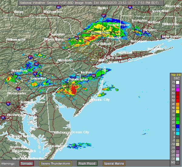 Radar Image for Severe Thunderstorms near Clayton, NJ at 6/3/2020 7:58 PM EDT