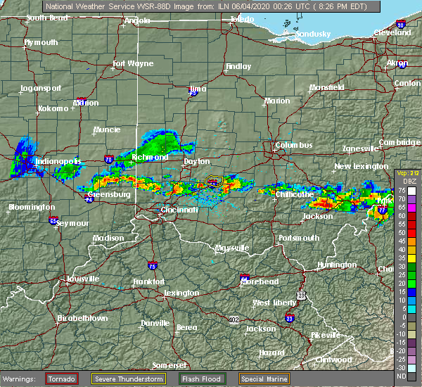 Radar Image for Severe Thunderstorms near Shawnee Hills, OH at 6/3/2020 8:29 PM EDT