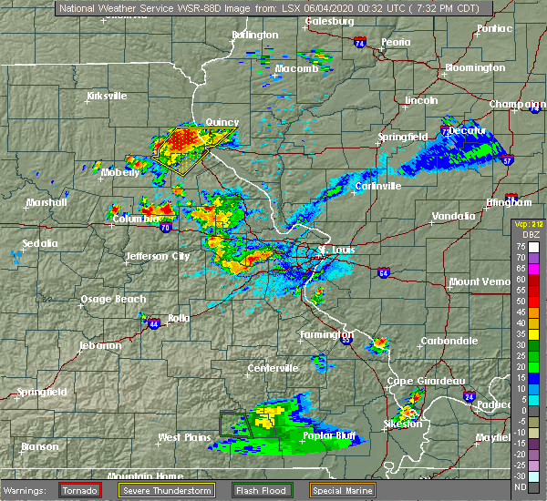 Radar Image for Severe Thunderstorms near Martinsburg, MO at 6/3/2020 7:37 PM CDT