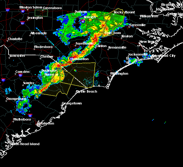 Radar Image for Severe Thunderstorms near Mullins, SC at 6/27/2015 9:08 PM EDT