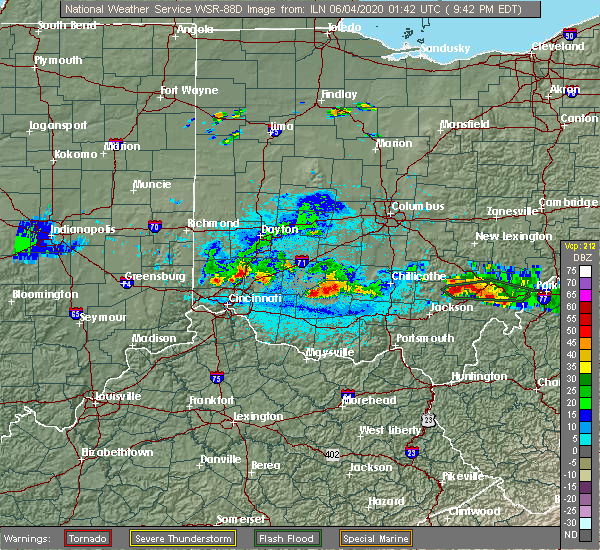 Radar Image for Severe Thunderstorms near Middletown, OH at 6/3/2020 9:46 PM EDT
