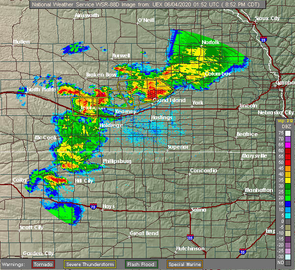 Radar Image for Severe Thunderstorms near Chapman, NE at 6/3/2020 8:56 PM CDT