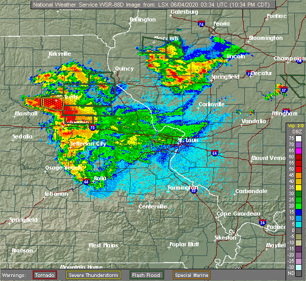 Radar Image for Severe Thunderstorms near Clark, MO at 6/3/2020 10:42 PM CDT