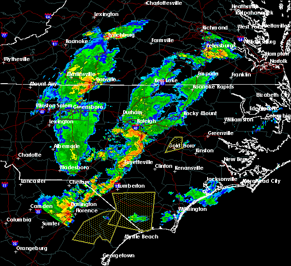 Radar Image for Severe Thunderstorms near Goldsboro, NC at 6/27/2015 9:11 PM EDT