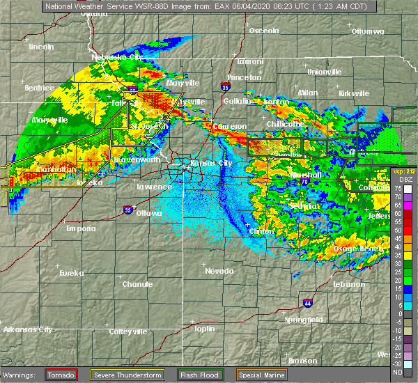 Radar Image for Severe Thunderstorms near Rosendale, MO at 6/4/2020 1:29 AM CDT