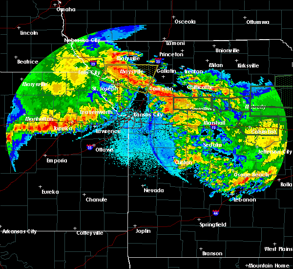 Radar Image for Severe Thunderstorms near Weatherby Lake, MO at 6/4/2020 1:44 AM CDT