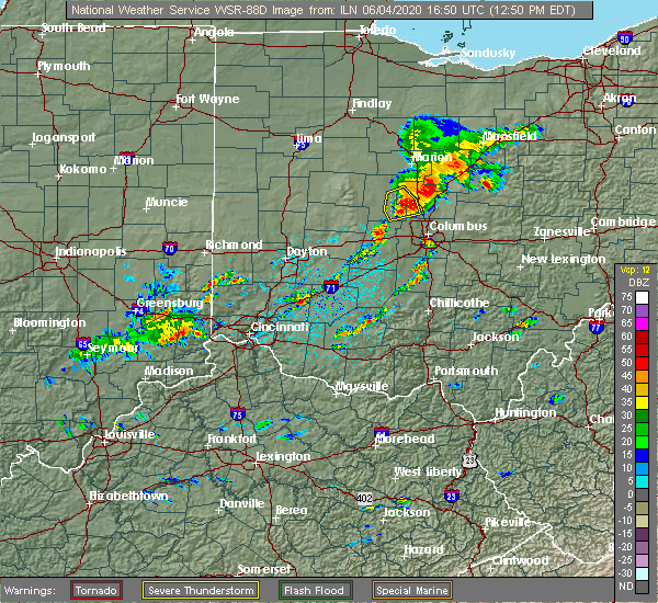 Radar Image for Severe Thunderstorms near Westerville, OH at 6/4/2020 12:55 PM EDT