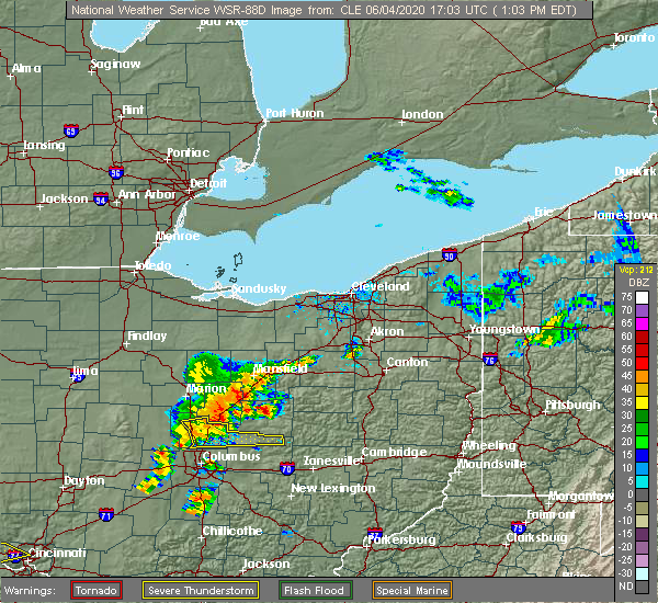 Radar Image for Severe Thunderstorms near Howard, OH at 6/4/2020 1:07 PM EDT