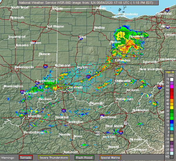Radar Image for Severe Thunderstorms near Kilbourne, OH at 6/4/2020 1:24 PM EDT